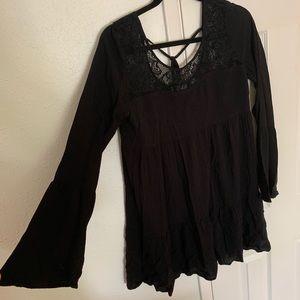 Black Full Tilt Mini Dress with Bell Sleeves